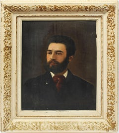 Antique American Original Oil Painting Male Portrait of a Young Handsome Man
