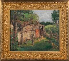 Antique American Plein Aire Impressionist Farm Landscape Framed Oil Painting