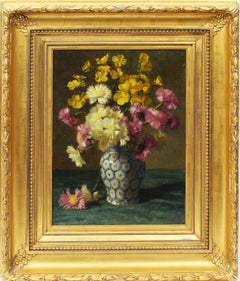 Antique American Realist Flower Still Life Signed Exceptional Rare Oil Painting