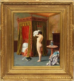 Antique American Realist Museum Quality Nude Interior Orientalist Oil Painting