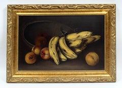 Antique American Realist Still Life Oil Painting Bananas 19th Century Framed