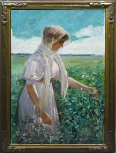 Antique American School 1913 Portrait of Woman Picking Flowers  Oil Painting