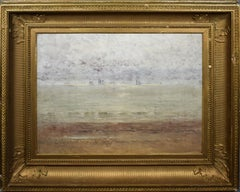 Antique American School 19th Century Sunset Luminous Beach Seascape Oil Painting