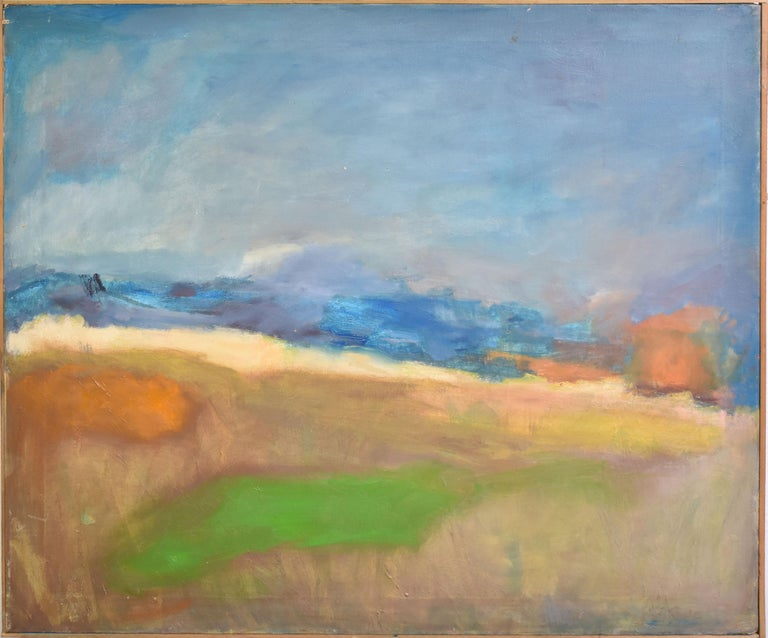 Antique American School Abstract Beach Landscape Original Framed Oil Painting - Gray Landscape Painting by Unknown