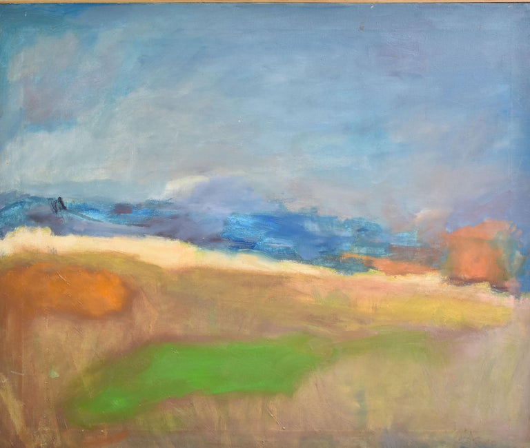 Antique American modernist abstract landscape.  Oil on canvas, circa 1950.  Unsigned.  Displayed in a period modernist frame.  Image, 27.5