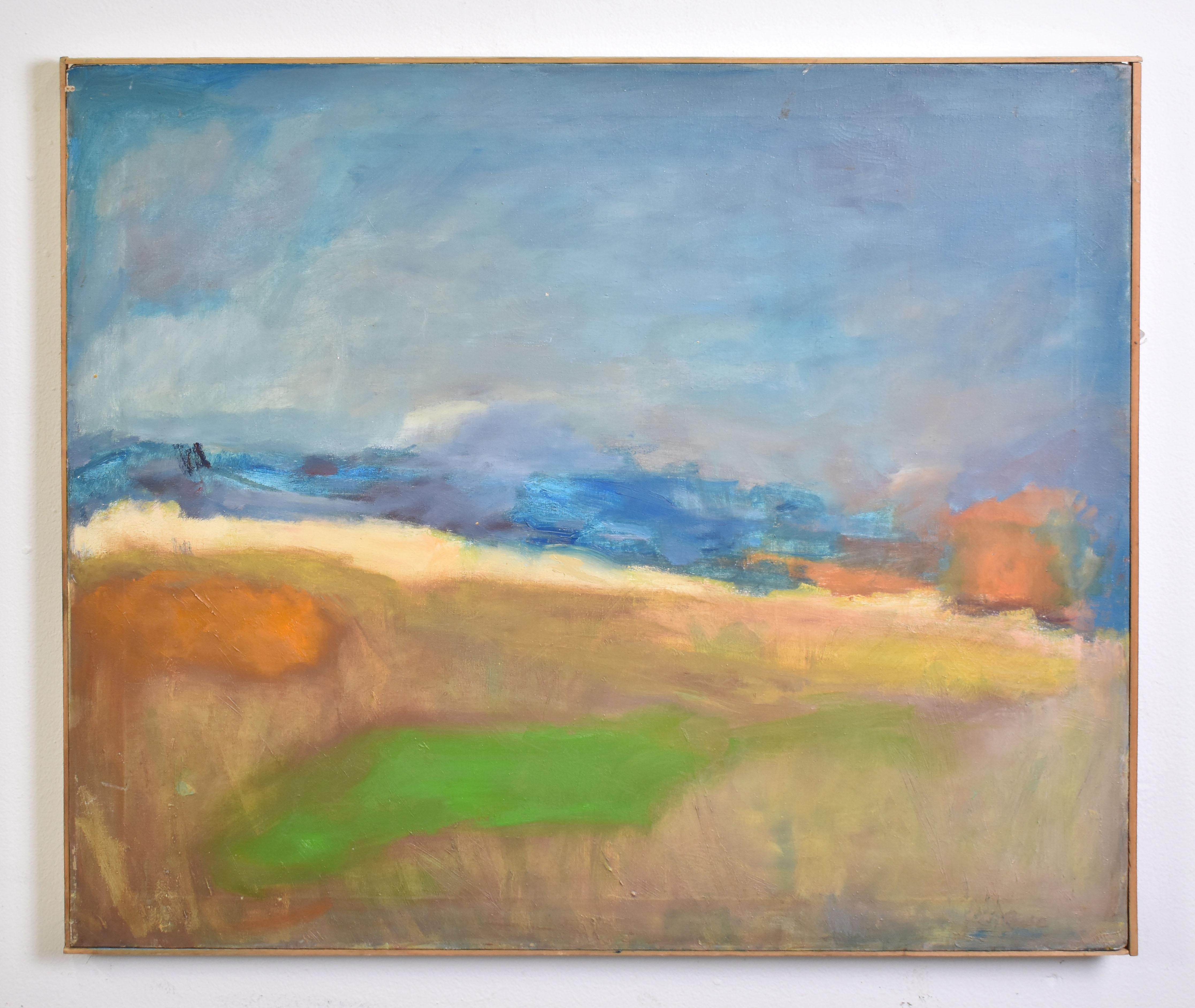 Antique American School Abstract Beach Landscape Original Framed Oil Painting