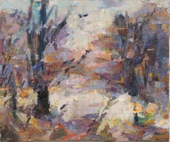 Antique American School Abstract Expressionist Forest Interior Oil Painting