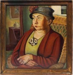 Antique American School Ash Can WPA Social Realist Oil Painting Woman Portrait