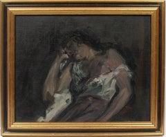 Antique American School Ashcan Portrait Sleeping Woman Original Oil Painting