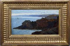 Antique American School Circle of William Haseltine Italian Coastal Oil Painting