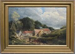 Antique American School Coastal Farm Landscape Signed Cow Horse Oil Painting '66