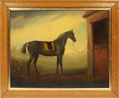 Antique American School Equestrian Horse Portrait Black Stallion Oil Painting