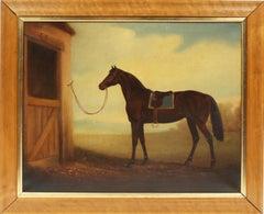 Antique American School Equestrian Horse Portrait Brown Stallion Oil Painting