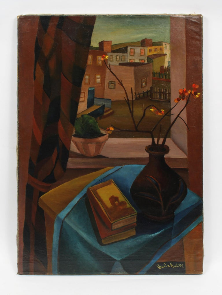 Antique American School Female Modernist Cityscape Signed WPA NYC Oil Painting - Black Landscape Painting by Unknown
