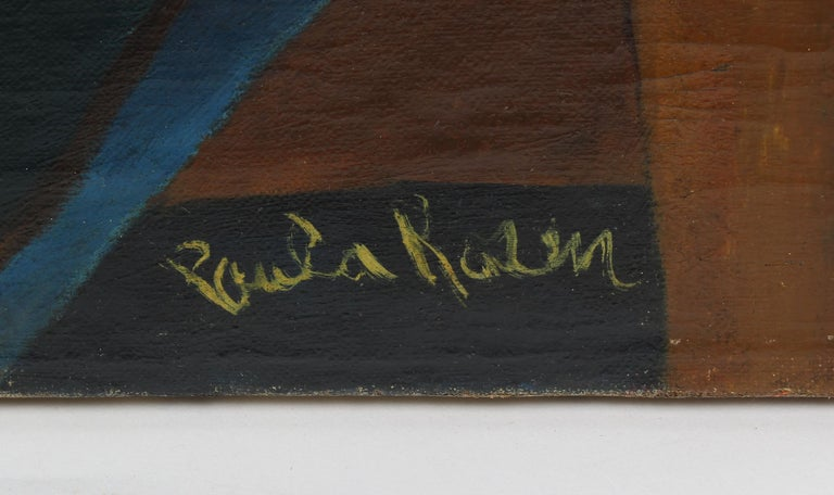 Antique American School Female Modernist Cityscape Signed WPA NYC Oil Painting 3