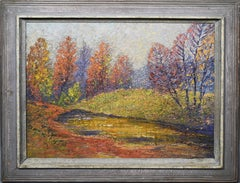 Antique American School Heavy Impasto Fall Landscape Original Fauve Oil Painting