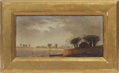 Antique American School Hudson River Landscape Sailboat Storm Rare Oil Painting