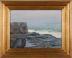 Antique American School Impressionist Coastal Ocean Beach Original Oil Painting