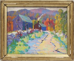 Antique American School Impressionist New England Fall Woods Fauvist NY Painting