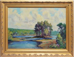 Antique American School Impressionist New England Summer Lake Oil Painting