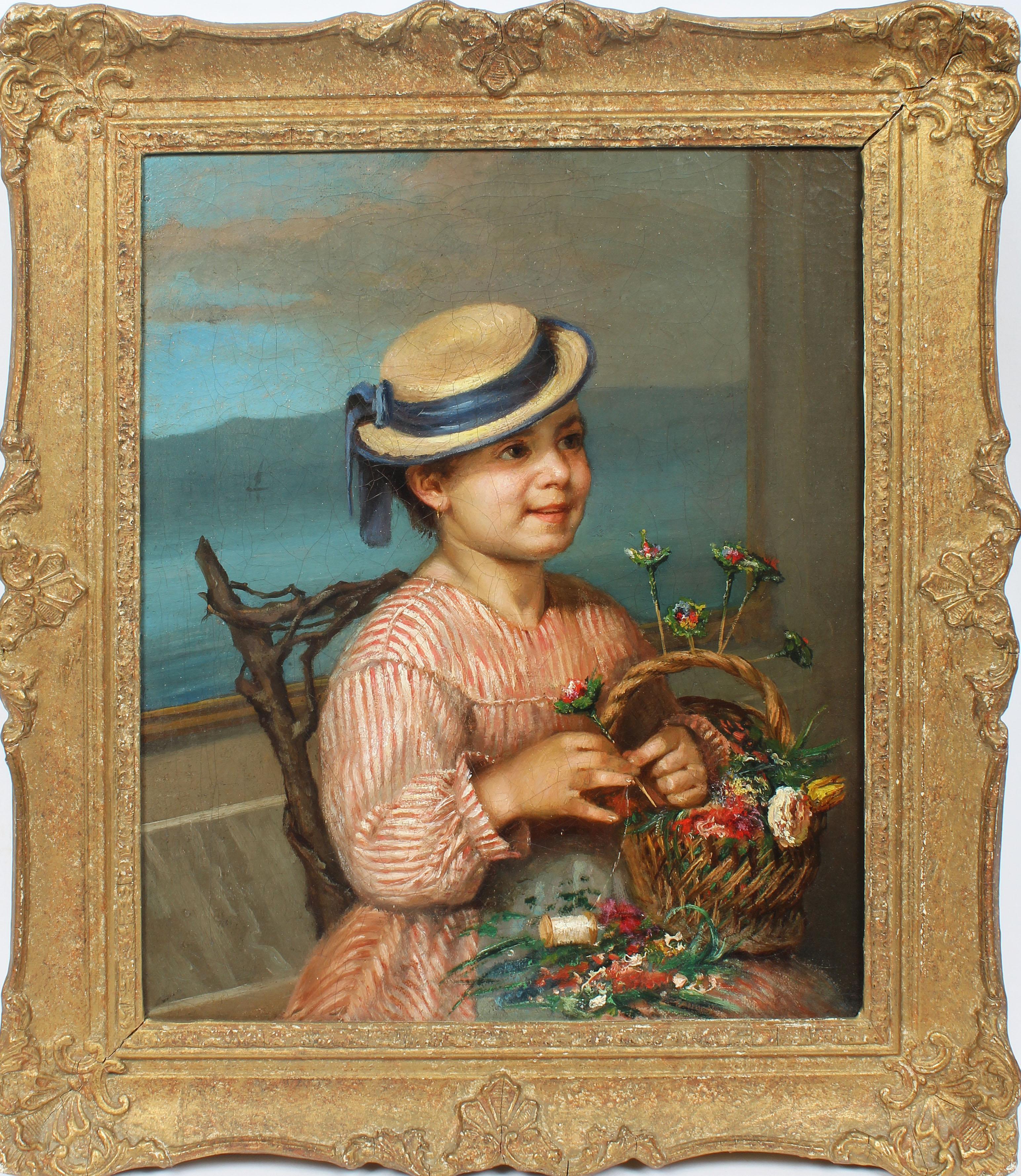 Antique American School Impressionist Portrait Nautical Flower Rare Oil Painting