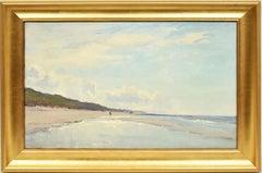 Antique American School Impressionist Seascape Beach Nautical Original Painting