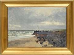 Antique American School Impressionist Seascape Beach Nautical Original Painting