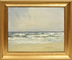 Antique American School Impressionist Seascape Beach Waves Nautical Oil Painting