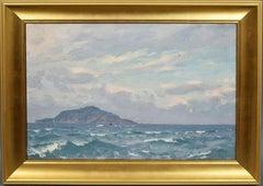 Antique American School Impressionist Seascape Island Nautical Original Painting