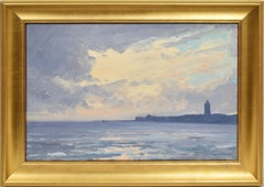 Antique American School Impressionist Seascape Lighthouse Nautical Oil Painting