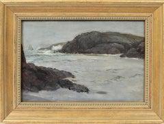 Antique American School Impressionist Seascape Ocean Wave Study Oil Painting