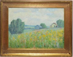 Antique American School Impressionist Wild Flower Landscape Oil Painting