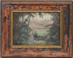 Antique American School Landscape Oil Painting with Figure