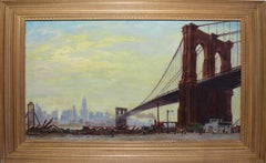 Antique American School Large Impressionist Oil Painting of the Brooklyn Bridge
