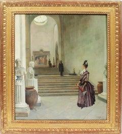"""Antique American School """"Metropolitan Museum"""" Interior Genre Scene Oil Painting"""