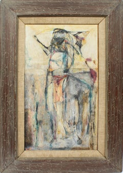 Antique American School Mid Century Modern Abstract Signed Portrait Oil Painting
