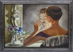 "Antique American School Modernist Dressing Room Portrait Oil Painting, ""Pearls"""