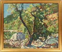 Antique American School Modernist Mountain River Landscape Oil Painting