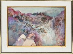 Antique American School Modernist Sunset Beach Dune Signed Portrait Oil Painting