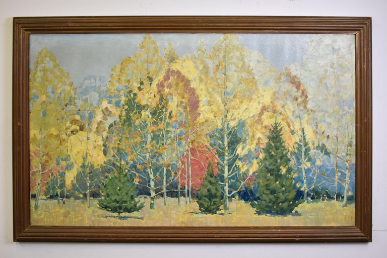 Antique American School Museum Size Arts & Crafts Fall Landscape Oil Painting - Brown Landscape Painting by Unknown