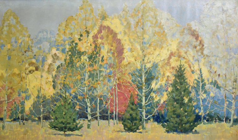 Antique American impressionist oil painting of a fall landscape.  Oil on canvas, circa 1900.  Apparently unsigned.  Displayed in a period giltwood frame.  Image size, 50