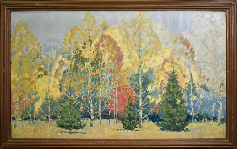Unknown Landscape Painting - Antique American School Museum Size Arts & Crafts Fall Landscape Oil Painting