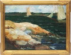 Antique American School New England Coastal Harbor Sailboat Beach Oil Painting