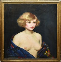 Antique American School New York Impressionist Nude Woman Portrait Oil Painting