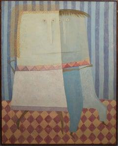 Antique American School New York Modernist Surreal Portrait Original Painting