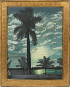 Antique American School Nocturnal Florida Tropical Palm Tree Moonlit  Painting