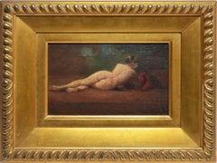 Antique American School Nude Woman Portrait, Salon Style Oil Painting