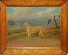 Antique American School Oil Painting of a Dog in Landscape Circa 1840