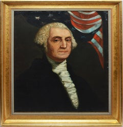 Antique American School Oil Painting Presidential Portrait of George Washington