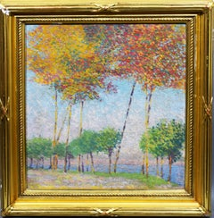 Antique American School Pointillist Fall Landscape Lake View Oil Painting
